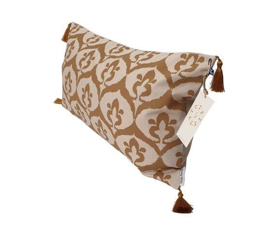 Housse de coussin ottoman style ikat beige / ocre havane - 30 x 50