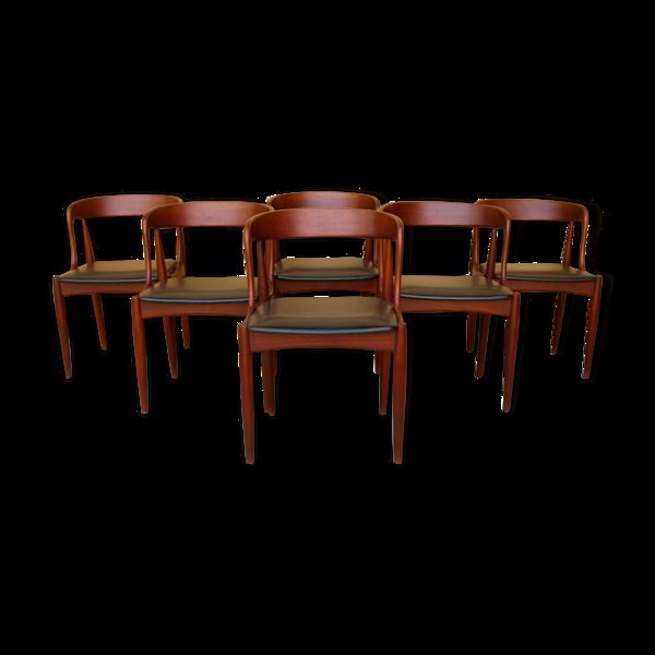 Série de 6 chaises scandinaves en teck par J. Andersen pour Uldum Møbelfabrik