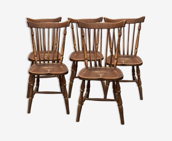 Ensemble de 5 chaises de bistrot style western