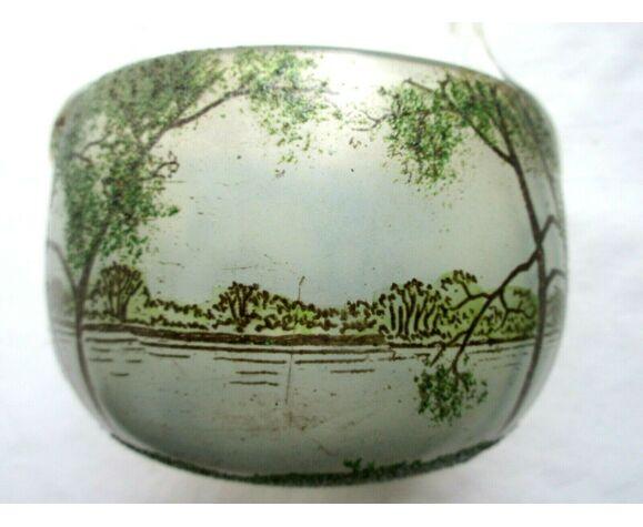 Vase panier rond verre émaillé paysage lacustre avec grands arbres LEGRAS