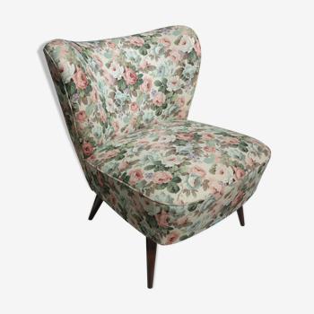Vintage cocktail armchair in flowerprint 1960