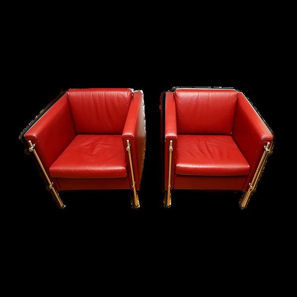 Selency Paire de fauteuils en cuir rouge Felix design Burkhard vogtherr pour arflex; année 80.bon état.