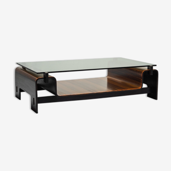 Table basse en bois verre des années 50 modernié vintage