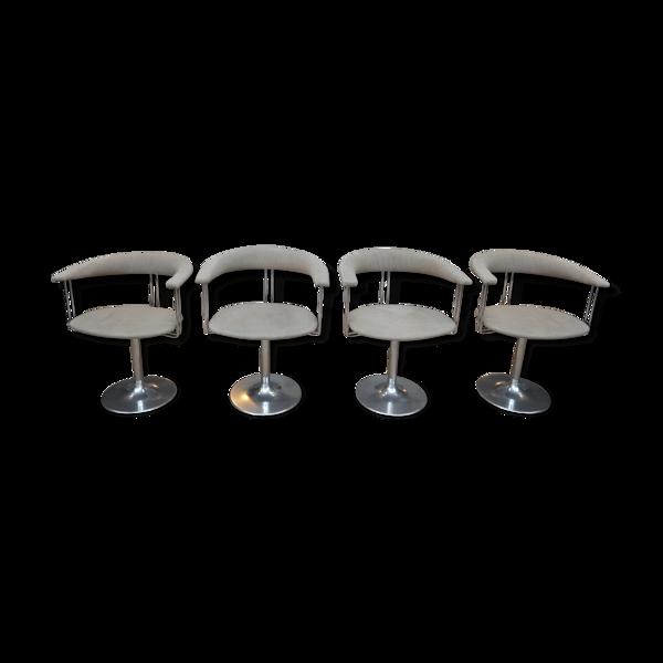 Lot de 4 fauteuils design pivotants en métal chromé et tissu 1970