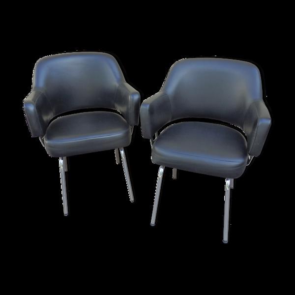 Selency Paire de fauteuils vintage de conférence skai noir