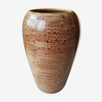 Ancien vase céramique marron beige années 70 vintage