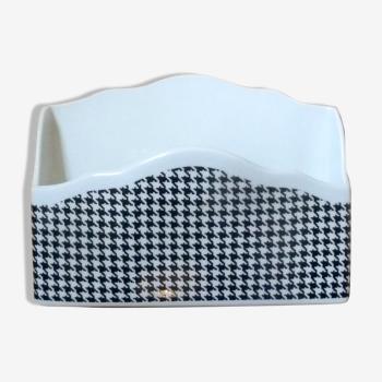 Porte-lettres vide poche porcelien vintage pied de poule