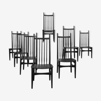Set de 8 chaises nordiques années 60 haut dossier