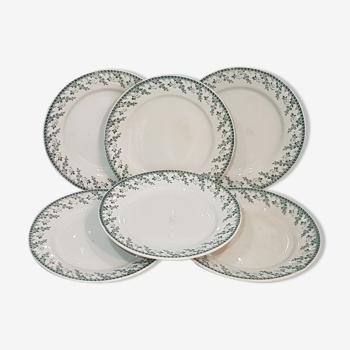 Lot de 6 assiettes à dessert en porcelaine opaque de Gien modèle Montigny, terre de fer.
