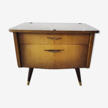 Table de chevet du milieu du siècle avec tiroir et compartiment, petite poitrine de tiroirs