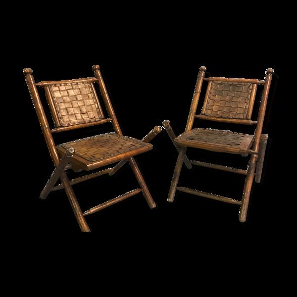 Ancien fauteuils coloniaux en cuir tressé