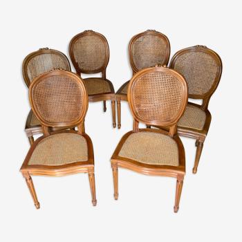 Lot de 6 chaises Marie Antoinette assise cannée
