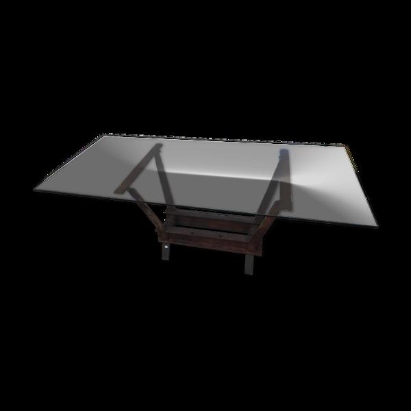 Selency Table industrielle fer et verre 200 x 900 cm