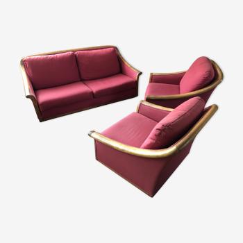 Salon Roche et Bobois en noyer canape et 2 fauteuils