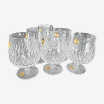 Lot de 6 verres à cognac vintage en cristal ciselé Cristallerie Zwiesel Germany modèle Désirée