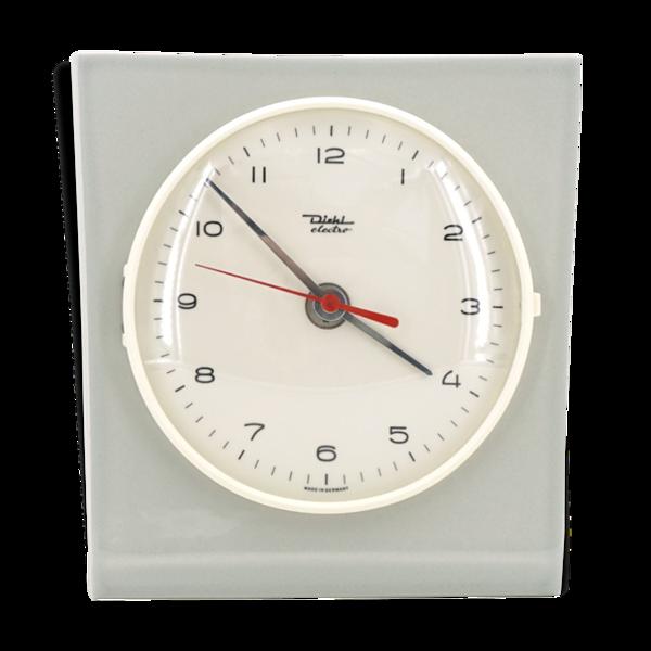 Horloge murale en céramique gris clair et forme libre des années 60 et de marque Diehl