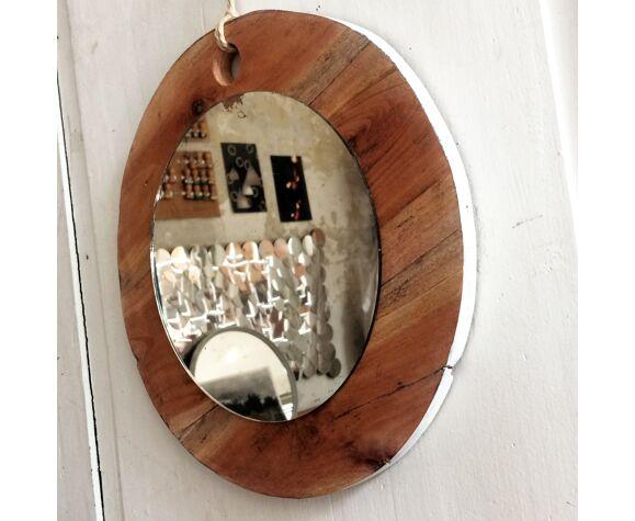Miroir rond sur bois, 35cm