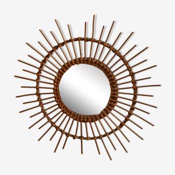 Miroir soleil vintage rotin bambou 49cm