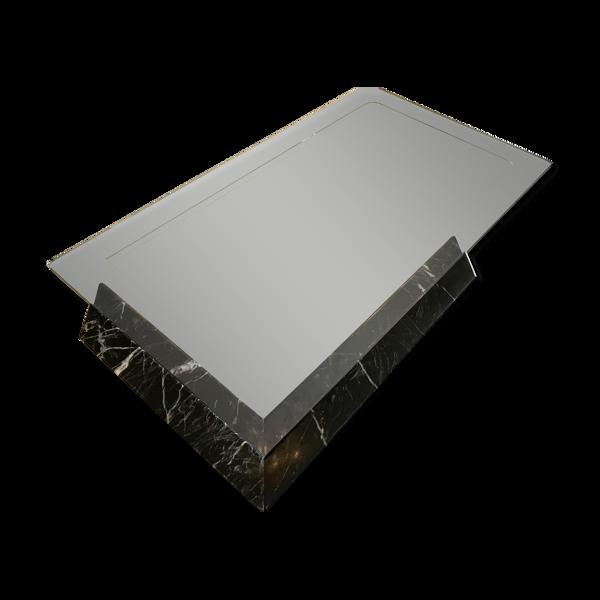 B&B Italia large table en marbre noir et verre