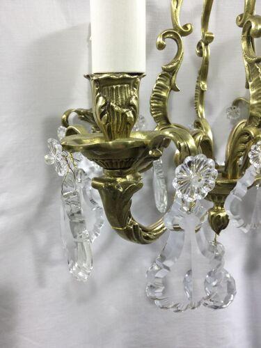 Lustre cage à  4 lumières bronze et cristal