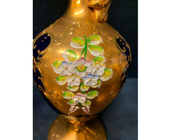 Carafe en verre de Murano réglée avec six verres à vin 24K Gold Leaf – Bleu.