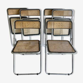 Set de 6 chaises pliantes années 70 cannées