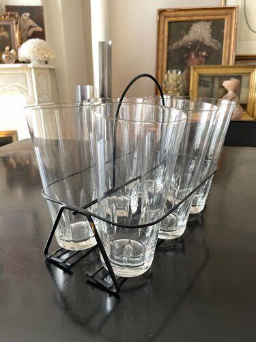 Ensemble de 6 verres en cristal avec présentoir