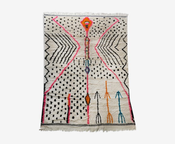 Tapis berbère marocain Azilal écru à motifs colorés 290x186cm