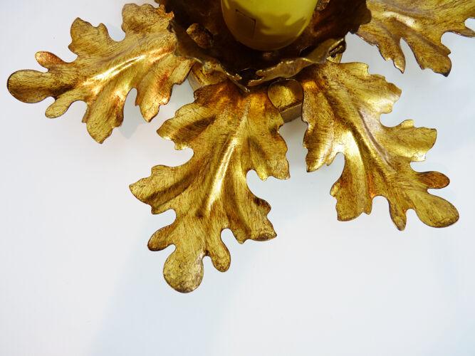Paire d'appliques murales florentine vintage feuilles dorées. Année 70
