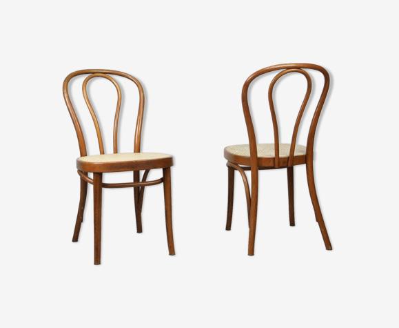 Lot de 2 chaises marron n° 218 de Michael Thonet