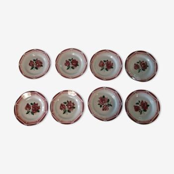 Série de huit assiettes plates en faïence Digoin Sarreguemines modèle Cibon