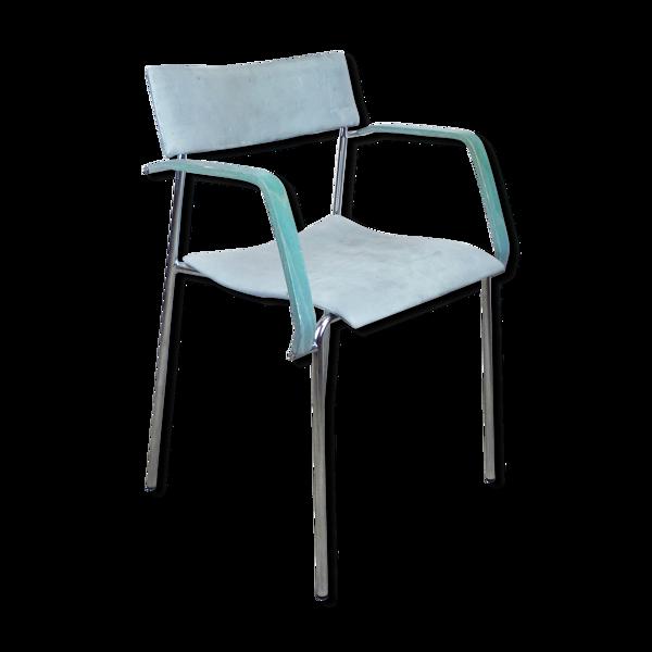 Chaise Lammhults en cuir et bois bleu