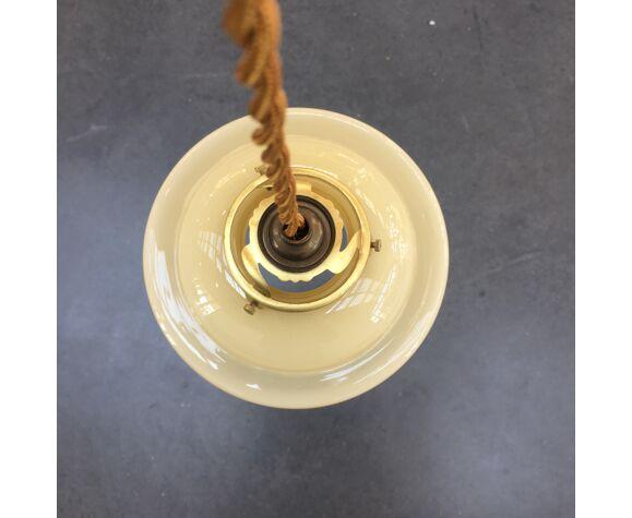 Suspension vintage en verre beige et liserés dorés