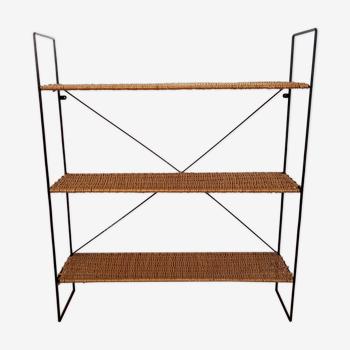 Metal shelf and rattan