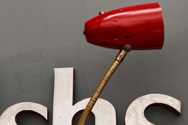 Lampe cocotte tripode années 50, couleur rouge