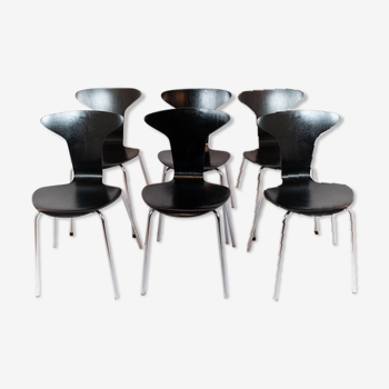 Lot de 6 chaises Munkegaard noirs conçu par Arne Jacobsen en 1955