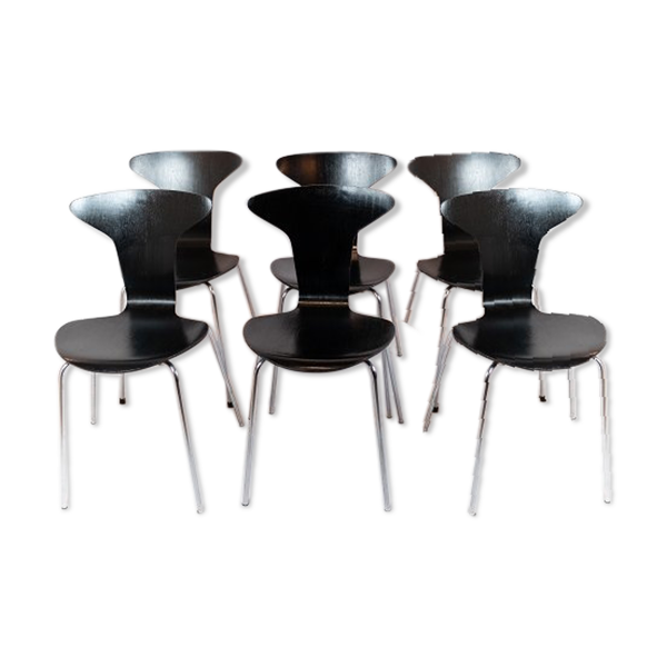 Selency Lot de 6 chaises Munkegaard noirs conçu par Arne Jacobsen en 1955