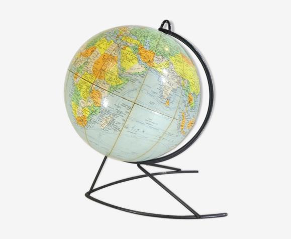 Ancien globe terrestre mappemonde girard et barrere ech 40.000.000