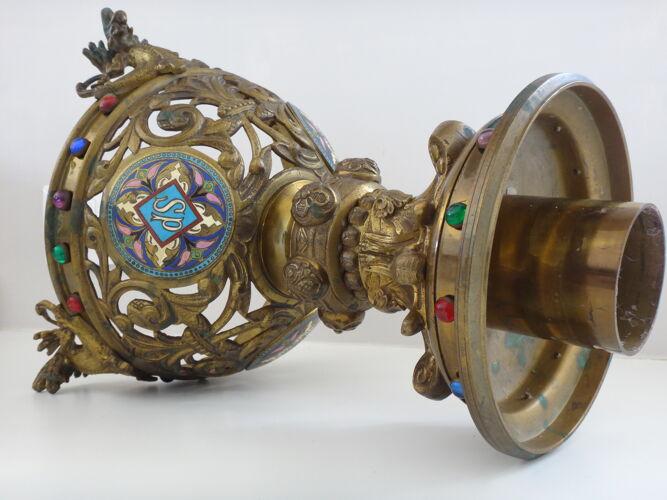 Bougeoir chandelier autel bougeoir bronze émaux 36cm eglise XIX