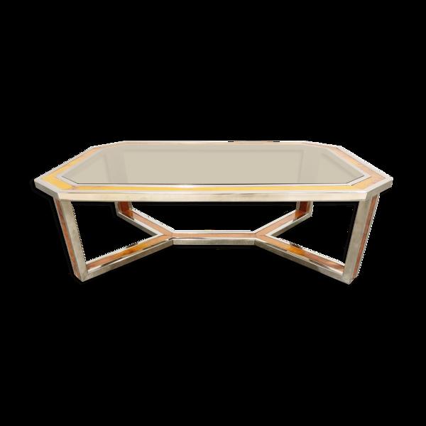Selency Table basse en bois chromé et burl vintage, années 1970