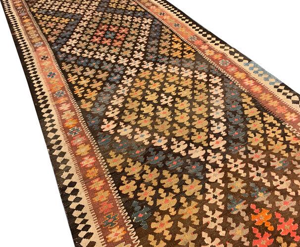 Antique Persan géométrique Kilim traditionnel fait à la main Zone Tapis- 126x370cm