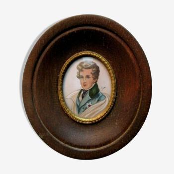 Cadre bois médaillon ovale verre bombé, portrait du Duc de Reichstadt