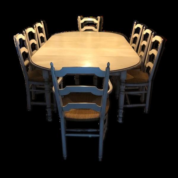 Selency Table et assises provençale en chêne massif