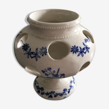 Vase pique fleurs décor bleu