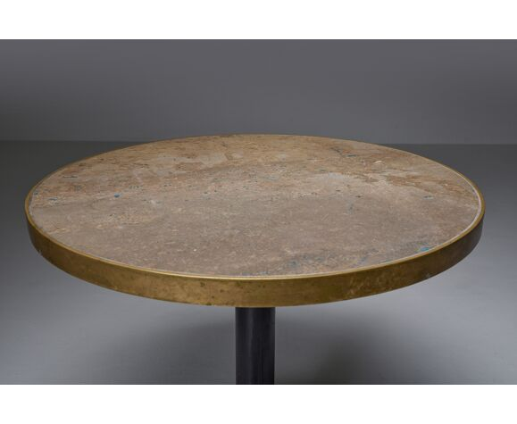 Table de bistrot de travertin et de laiton
