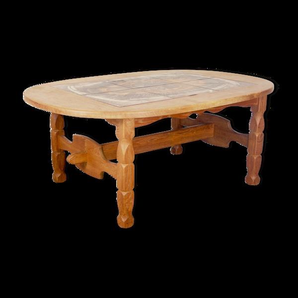 Selency Table basse avec carreaux de céramique Poul H. Poulsen, Gangso Scandinave