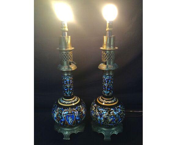 Paire de lampes en faïence de Gien