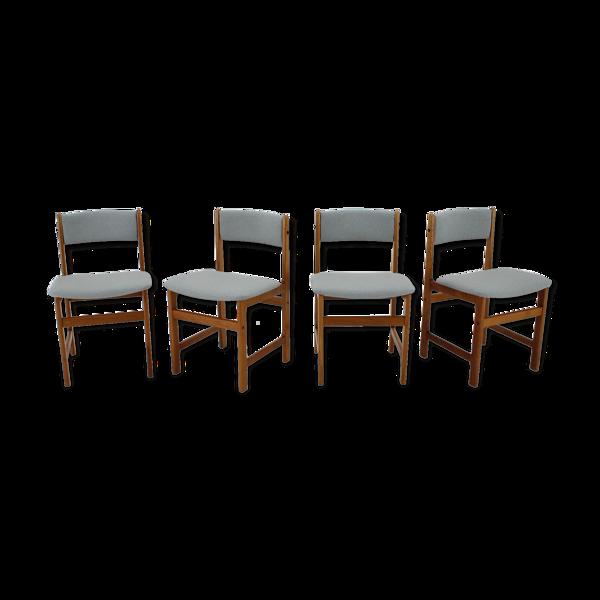 Chaises à manger danoises en teck des années 1960, ensemble de 4