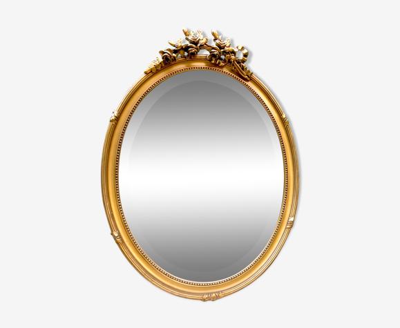 Miroir ovale biseauté en bois doré vintage 46x62cm