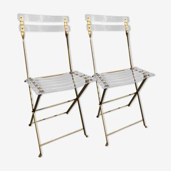 Paire de chaises pliantes et invisibles de Lebovici et Berthet, 1970